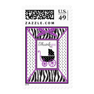 Zebra Print & Baby Carriage Thank You Stamps