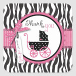 Zebra Print & Baby Carriage Thank You Square Sticker
