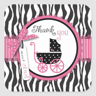 Zebra Print & Baby Carriage Thank You Square Sticker