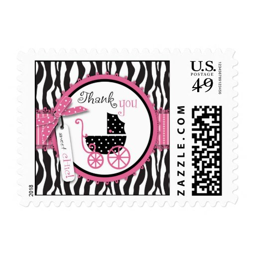 Zebra Print & Baby Carriage Thank You Stamp