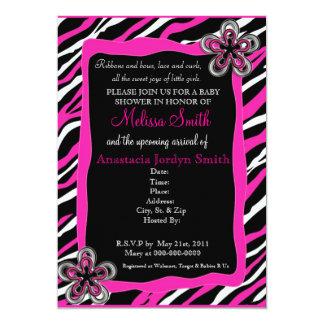 Zebra Print Baby Shower Invitation - Hot Pink