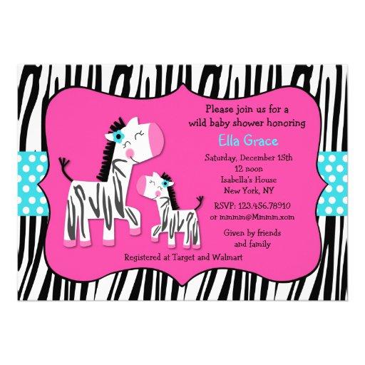 zebra print baby shower invitations zazzle