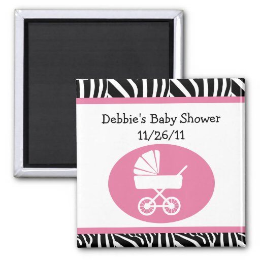 Zebra Print Baby Shower Magnet/Keepsake/Favor Magnet