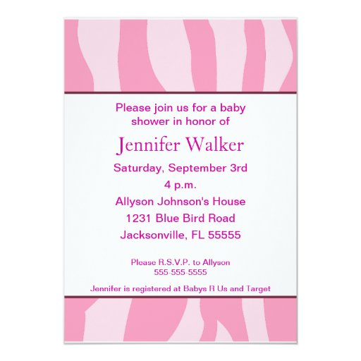 Zebra Print Baby Shower - Pink 5x7 Paper Invitation Card