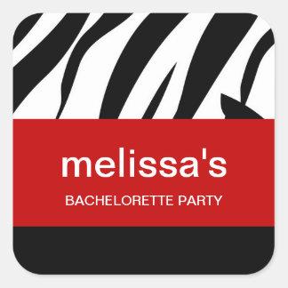 Zebra Print Bachelorette Stickers Square Sticker