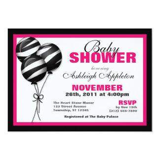 Zebra Print Balloon Fuchsia Baby Shower Invitation