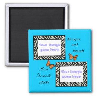 Zebra Print Best Friends Photo Magnet magnet