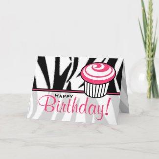 Zebra Print Birthday Card with Pink Cupcake card