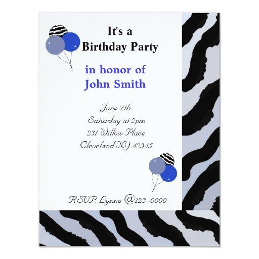 "Zebra Print Birthday Invitation 4.25"" X 5.5"" Invitation Card"