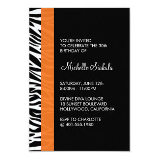 zebra print birthday party announcement