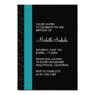 zebra print birthday party custom invite