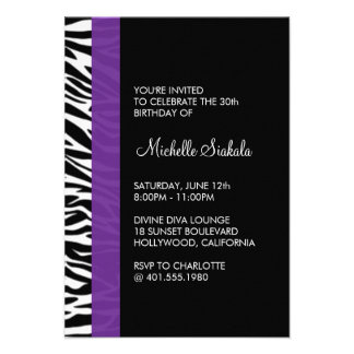 zebra print birthday party custom announcements