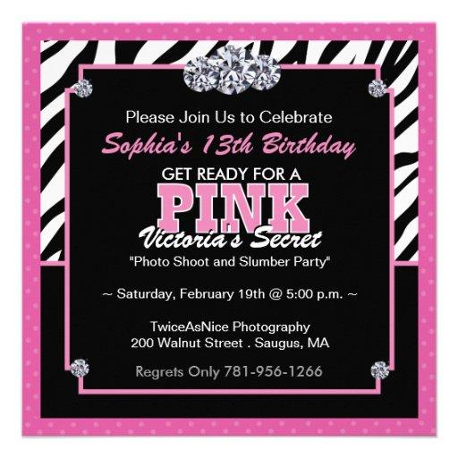 Personalized Slumber party Invitations – Zebra Print Birthday Invitations
