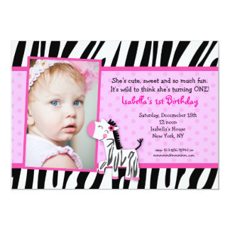 Zebra Print Birthday party Invitations