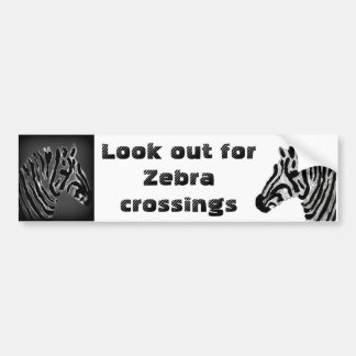 Zebra Print Black and White Stripes Car Bumper Sticker