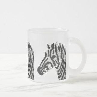 Zebra Print Black and White Stripes Frosted Glass Coffee Mug