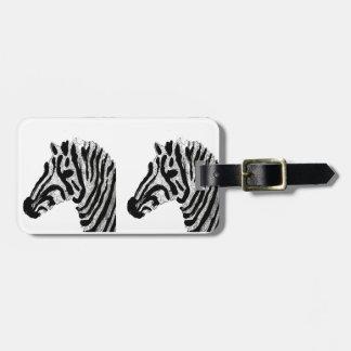 Zebra Print Black and White Stripes Luggage Tag