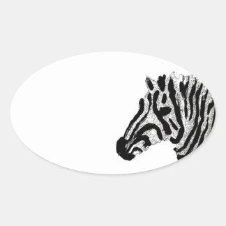 Zebra Print Black and White Stripes Oval Sticker