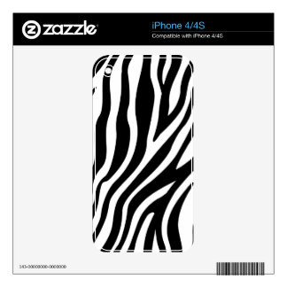 Zebra Print Black And White Stripes Pattern Decals For The iPhone 4