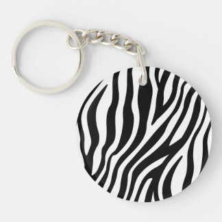 Zebra Print Black And White Stripes Pattern Keychain