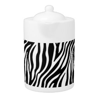 Zebra Print Black And White Stripes Pattern Teapot
