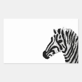 Zebra Print Black and White Stripes Rectangular Sticker