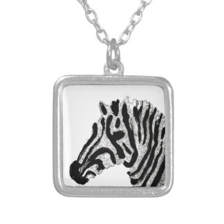 Zebra Print Black and White Stripes Silver Plated Necklace