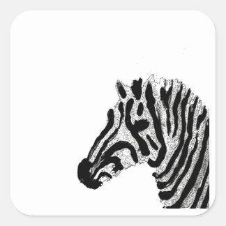 Zebra Print Black and White Stripes Square Sticker