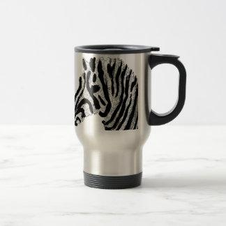 Zebra Print Black and White Stripes Travel Mug