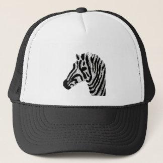 Zebra Print Black and White Stripes Trucker Hat