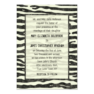 Zebra Print Black Beige Elegant Vintage Wedding Card