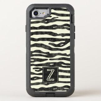 Zebra Print Black Ecru Stripes Stylish Monogram OtterBox Defender iPhone 7 Case