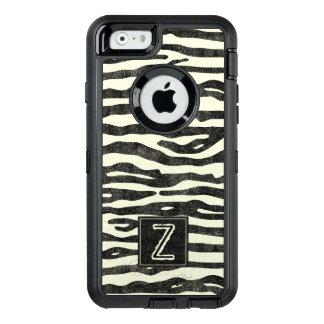 Zebra Print Black Ecru Stripes Stylish Monogram OtterBox Defender iPhone Case