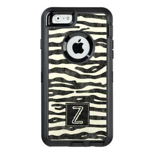 Zebra Print Black Ecru Stripes Stylish Monogram OtterBox iPhone 6/6s Case