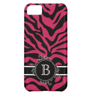 Zebra Print Black Hot Pink Swirly Monogram iPhone 5C Cases