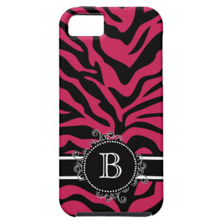 Zebra Print Black  Hot Pink Swirly Monogram iPhone SE/5/5s Case