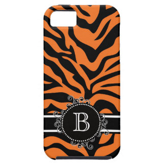 Zebra Print Black Orange Swirly Monogram iPhone SE/5/5s Case