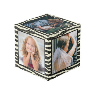 Zebra Print Black Stripes Custom 5 Square Photos Cube