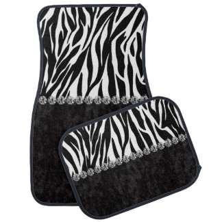 Zebra print black velvet diamond bling car mat