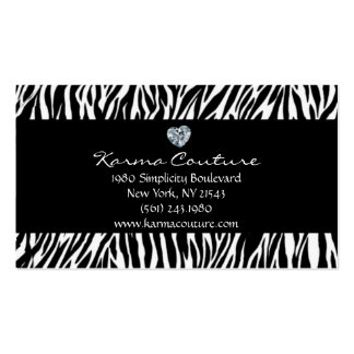 zebra print black w/ heart shaped diamond Double-Sided standard business cards (Pack of 100)