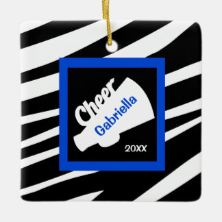Zebra Print Blue Cheer Megaphone Ornament