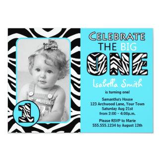 Zebra Print Blue First Birthday 4.5x6.25 Paper Invitation Card