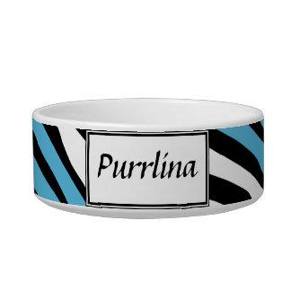 Zebra Print Blue Mix Personalized Cat Bowl