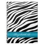 Zebra Print Blue Stripe Personalized Notebook