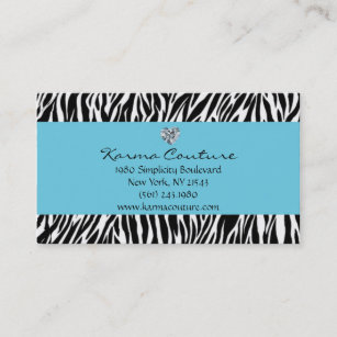 Heart shaped business cards templates zazzle zebra print blue w heart shaped diamond business card colourmoves
