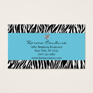 Diamond shaped business cards templates zazzle zebra print blue w heart shaped diamond business card colourmoves