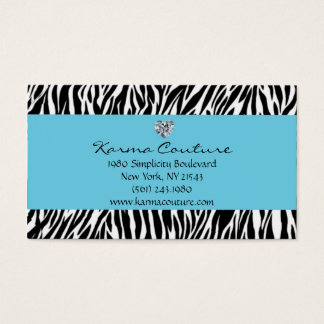 zebra print blue w/ heart shaped diamond business card