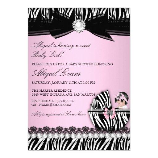 zebra print bow baby girl baby shower card zazzle