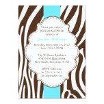 Zebra Print Bridal Shower 5x7 Paper Invitation Card