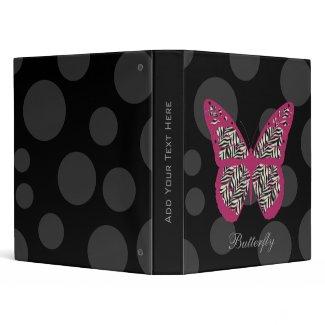 Zebra Print Butterfly Binder binder
